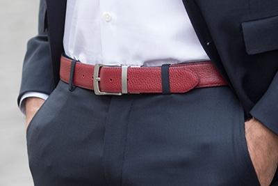ceinture réversible cuir bleu marine et bordeaux