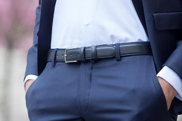 ceinture cuir bleu marine ugo