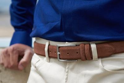 ceinture cuir daim chocolat lino