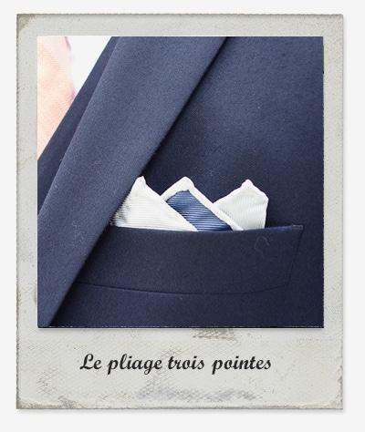 pliage trois pointes pochette costume